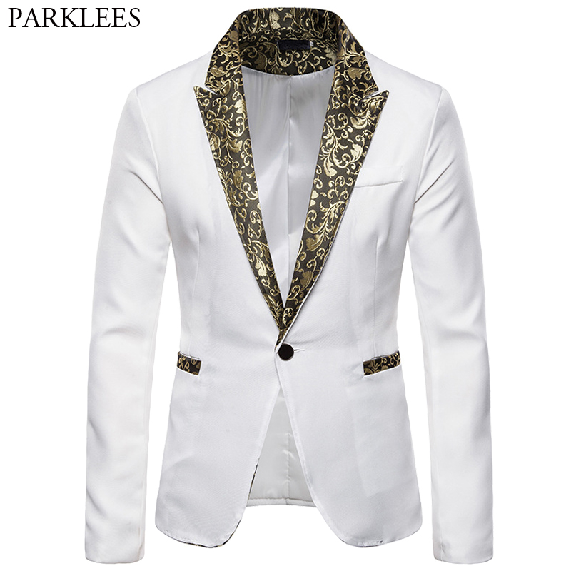 White Blazer Men Gold Jacquard Floral One Button Mens Blazer Jacket Wedding Party Stage Performance Men Blazer Dress Masculino
