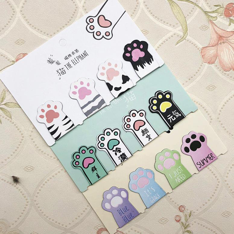 4 Pcs/pack Cartoon Mini Cat Paw Paper Magnetic Bookmarks Books Marker Of Page Stationery School Office Supply Student Gifts