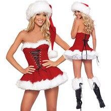 Costumi di natale del nuovo anno di S XXL costumi di babbo natale per le donne uniformi degli adulti vestito rosso Sexy di natale + cappello