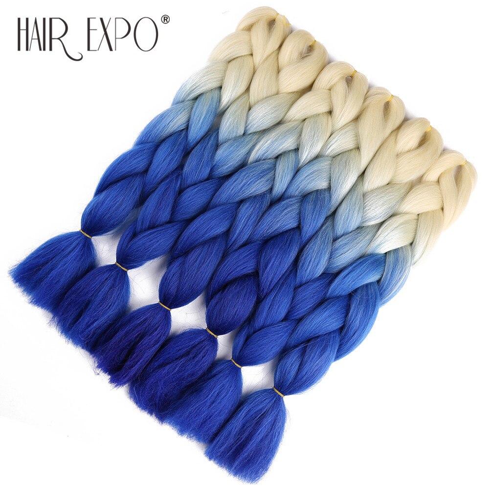 Expo Cidade 24 polegada Jumbo Tranças de cabelo Extensões de Cabelo de Crochê Crochê Trança Do Cabelo Sintético Ombre Rosa Roxo Azul Cinza Ouro cor