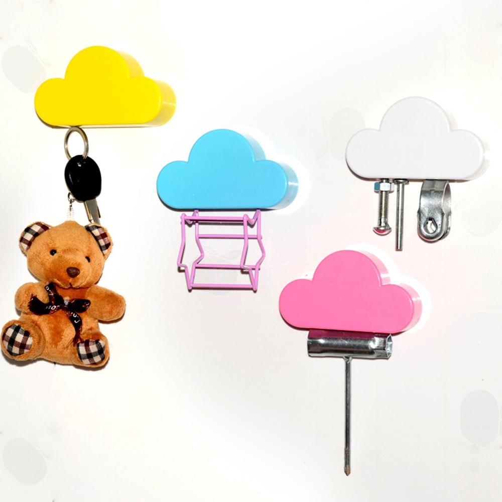 Creative Cloud Shape Magnets Wall Hooks Pink Yellow Blue Cloud Shape Magnets Wall Key Holder Securely Home Storage Holder Hook