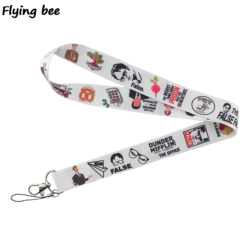 Flyingbee Office Funny Staff Lanyard Keychain Keys Holder Women Strap Neck Lanyards For Keys ID Card Phone Lanyard X0368