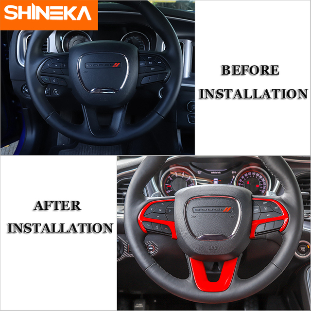 SHINEKA Interior Accessories For Dodge Challenger 2015+ Car Steering Wheel Decoration Cover Stickers For Dodge Charger 2015+ 2