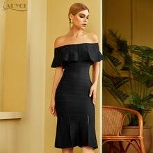 Женское облегающее платье adyce черное с открытыми плечами Клубное