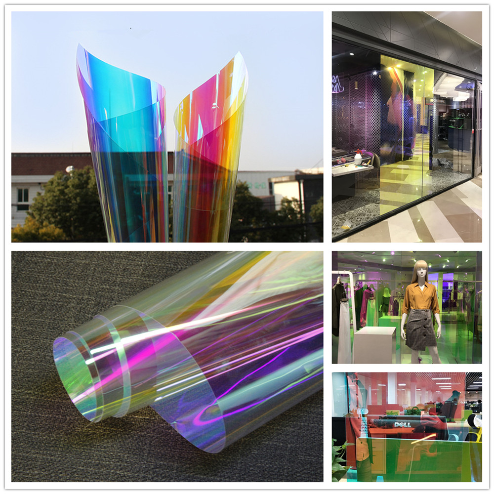 SUNICE Dichroic Iridescent Glass Tinting Window Sticker Glass Film Transparent Colored Film Christmas Party Festival DIY Decor - 5