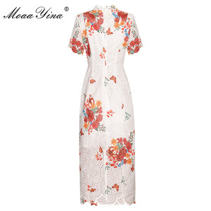 Image 2 - MoaaYina Fashion Designer dress Spring Summer Women Dress Stand collar Short sleeve Hollow Out Print Package buttocks Dresses