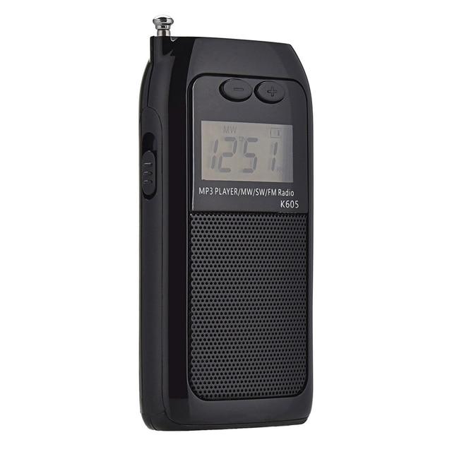 K605 جيب صغير راديو ستيريو FM AM SW MW الرقمية ضبط راديو استقبال MP3 مشغل موسيقى بطارية قابلة للشحن راديو محمول