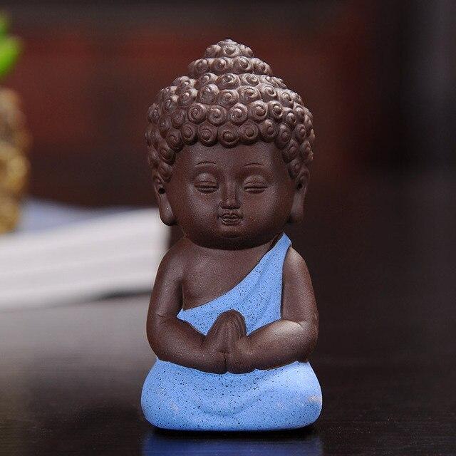 F Explosion Small Buddha Tea Pets Ceramic Crafts Decorative Home Ornaments Mini Figurines 4.9*9.5cm 4