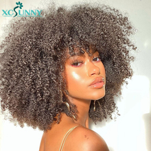 Kinky Curly Wig Bangs Human-Hair 200-Density Xcsunny Full-Machine Women Brazilian Black