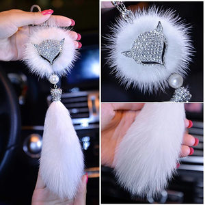 Glitter Mirror with Diamond Sable Pendant To Protect Safety Pendant Creative Gifts Car Fox Head Rearview Accessories Interior