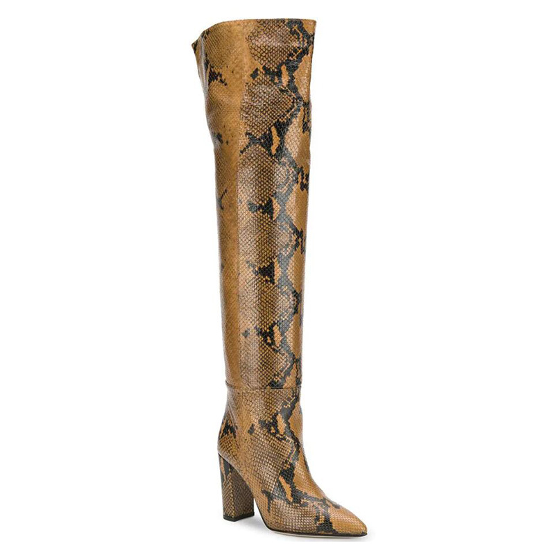 Women's Long Boot Sexy Snakeskin Leather Pointed Toed High Heeled Knee High Boots Over-the-kneeboots Shoes Woman Botas Mujer