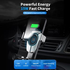 Image 3 - ROCK 15W Fast Wireless Charging Gravity Car Mount for iPhone 8 Plus X Xr Xs Max 11 Pro Max Car Holder for Huawei P30 Mate30 Pro
