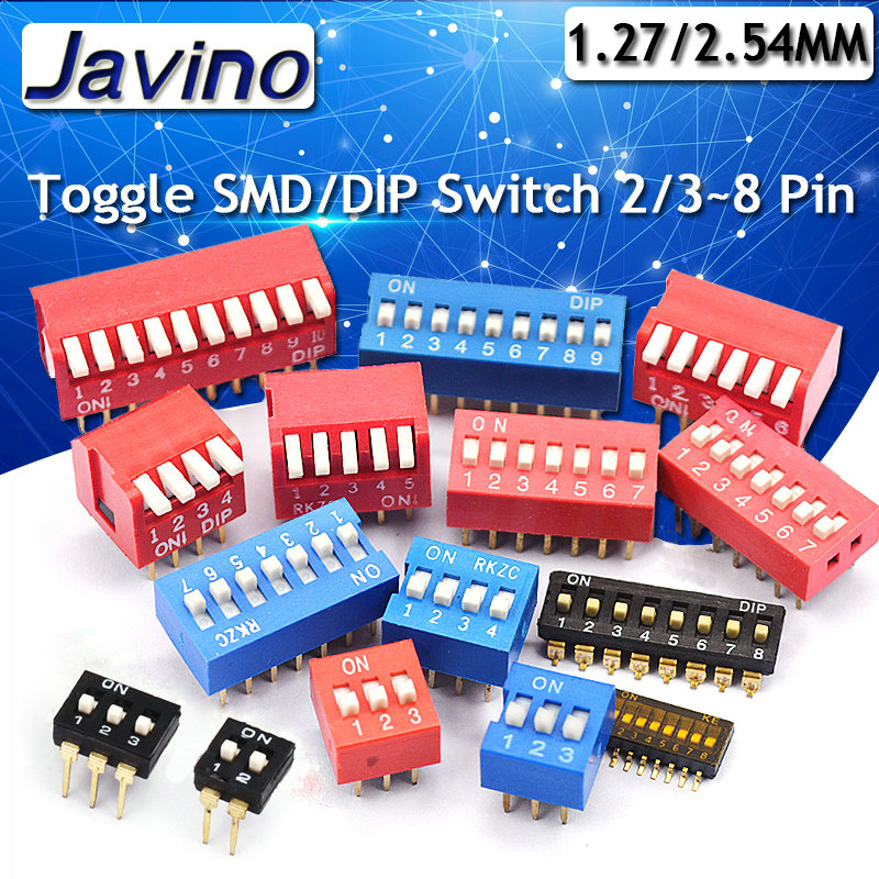 10PCS Blue 2.54mm Pitch 8-Bit 8 Positions Ways Slide Type DIP Switch