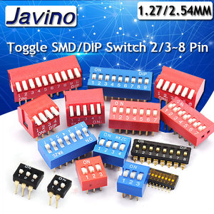 5PCS Slide Type Switch Module 1 2 3 4 5 6 7 8 10PIN /1.27/2.54mm Position Way DIP/SMD Pitch Toggle Switch Blue Snap Switch Dial(China)