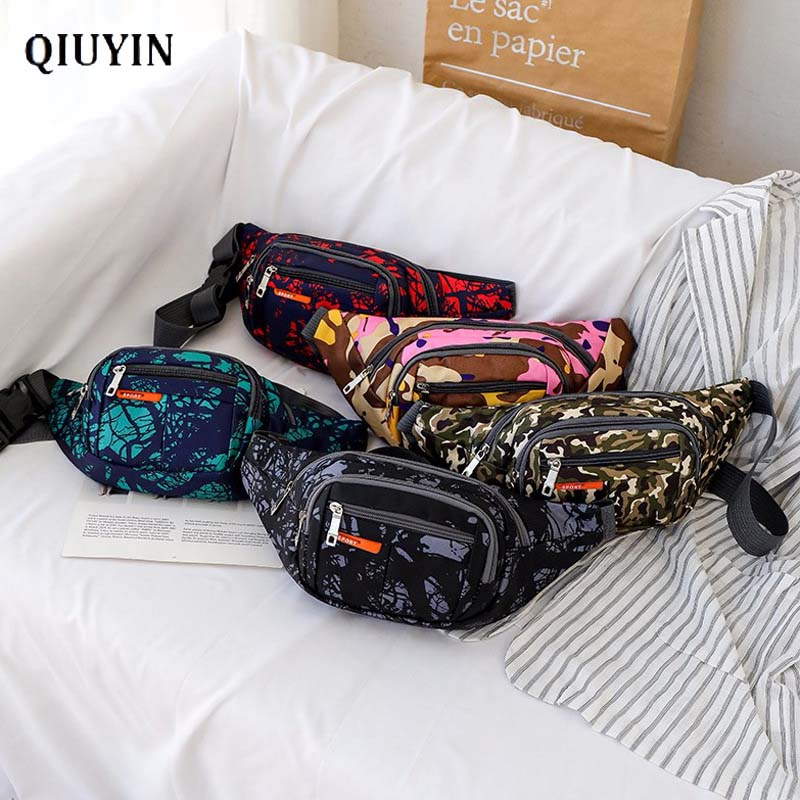 Qiuyin Premium Korean Fanny Pack Camouflaged Bag Women's Waist Bag Shoulder Streetwear Bum Retro Unisex Bag  Zipper Belt Canvas