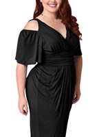 Women Cold Shoulder Plus Size Sexy Dress Black Red Big Size Prom Gown Dress Solid V Neck Sheath Party Dresses