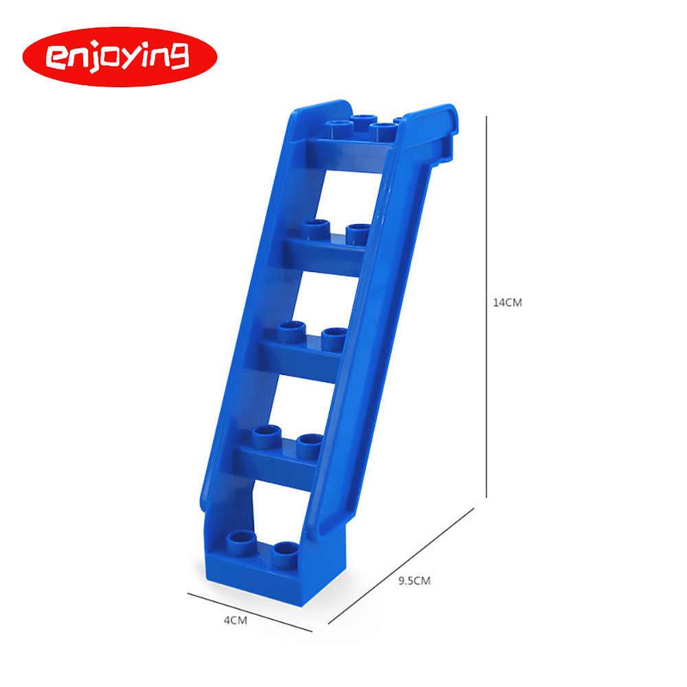 Anak-anak Pagar Geser Tangga Window Batu Bata Partikel Besar Blok Bangunan Aksesori Hadiah Mainan Playmobil Kompatibel dengan Legoed Duplo