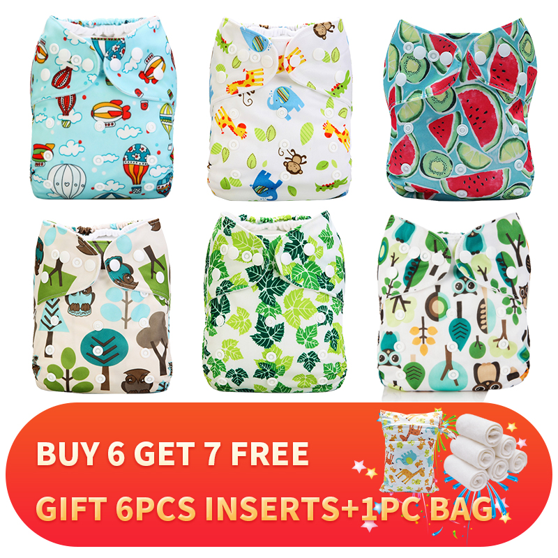[Mumsbest] Baby Cloth Nappy New Style Pattern 6pcs/Lot Diaper +6pcs Microfiber Inserts +Wet Bag Pack Reusable Diapers Lot Saled