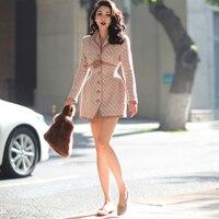 Le Palais Vintage 2019 Fall Winter Original Complex Process Retro Pink Slim Wool Long Coats Color Contrast Design Women Coat