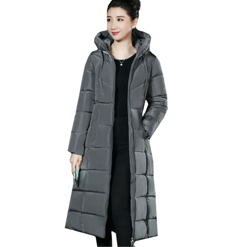 Parka Women Hooded Jacket Stand Collar Cotton Padded Winter Coat Plus Size Warm Thicken Female Long Outwear Casual Parkas 6XL