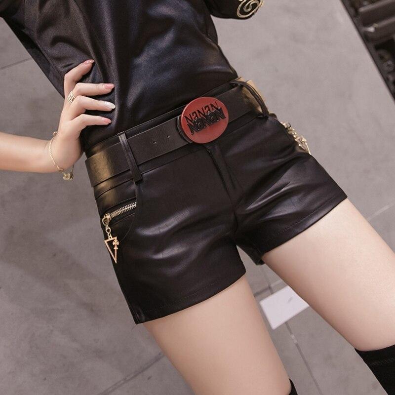 Korean Button Zipper Low Waist Shorts Women 2019 New Autumn Winter With Belt Fashion PU Sexy Leather Black Short Feminino B9N211