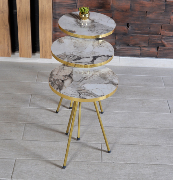 Zigon Coffee Table 3 pcs Gold Metal Leg 2 Color Options