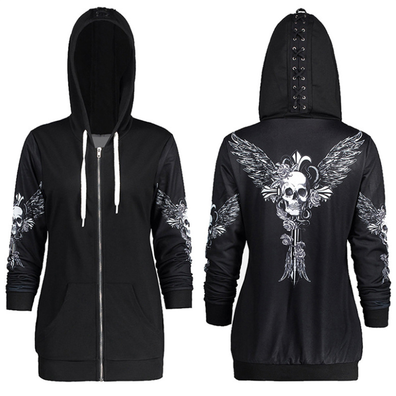 US $6.69 9% OFF|1color 5 Size Autumn Kpop Clothes Black Women Hoodies Sweatshirts Punk Long Sleeve Skull Wings Print Hooded Jacket Zipper Coat|Hoodies & Sweatshirts| |  - AliExpress