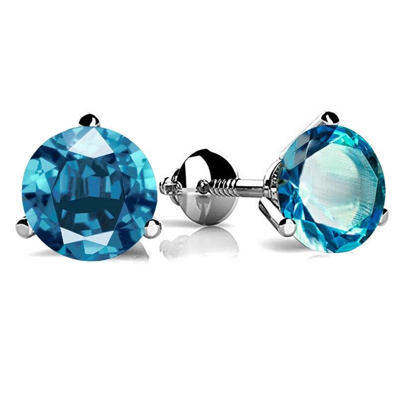 3 dente redondo aquamarine parafuso de volta brincos para mulher 925 prata esterlina birthstone jóias azul cristal zircão parafuso prisioneiro brincos