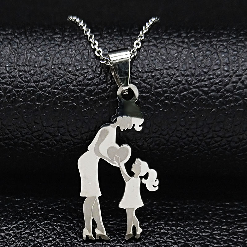 Mom Daughter Stainless Steel Chain Necklace Silver Color Necklaces Pendants Jewelry mujer Mother's Day Christmas Gift N539S01 16