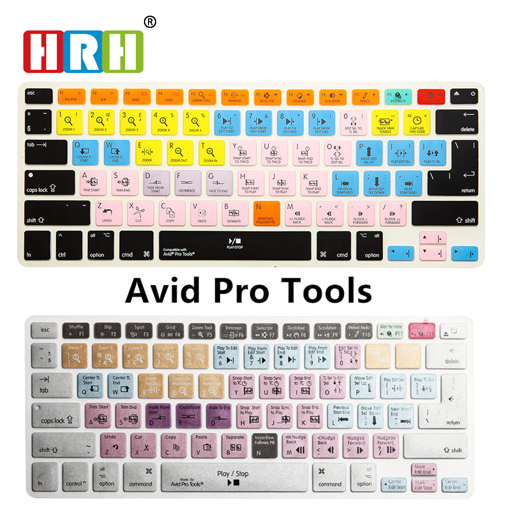 HRH Waterproof Avid Pro Tools Shortcut Hotkey Silicone Keyboard Skin Cover Protective Film For Macbook Air Pro Retina 13