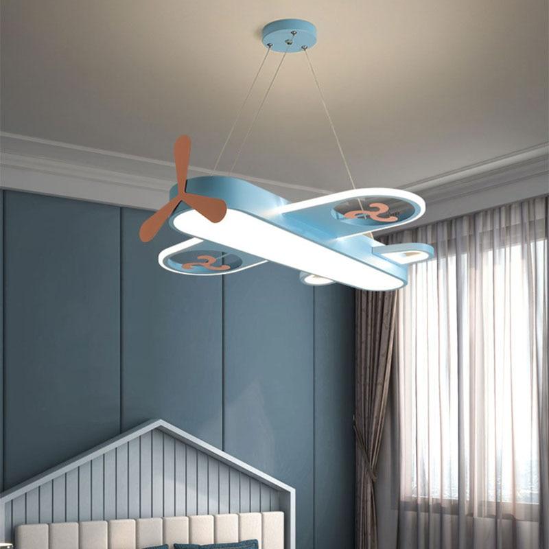 Современная синяя и розовая светодиодная люстра в виде самолета для спальни, гостиной, детской комнаты, скандинавский декоративный светиль...