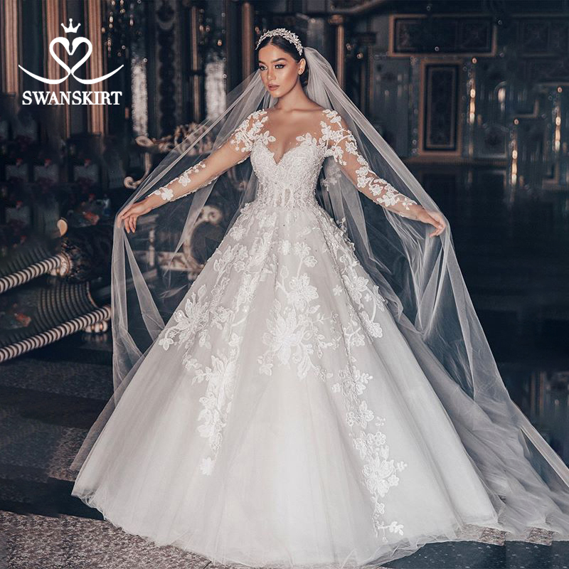 Luxury Wedding Dress 2020 Swanskirt Beaded Appliques Ball Gown Plus Size Long Sleeve Flowers Bridal dress Vestido de noiva QY01-in Wedding Dresses from Weddings & Events