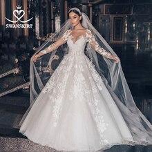 Vestido de boda de lujo 2020 Swanskirt con apliques de cuentas, Vestido de baile de talla grande, Vestido de novia de manga larga con flores, Vestido de novia QY01