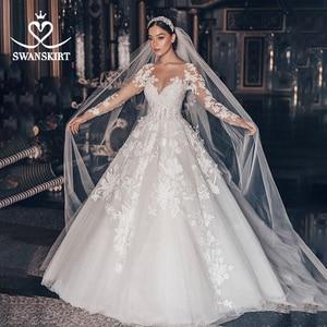 Image 1 - Vestido de boda de lujo 2020 Swanskirt con apliques de cuentas, Vestido de baile de talla grande, Vestido de novia de manga larga con flores, Vestido de novia QY01