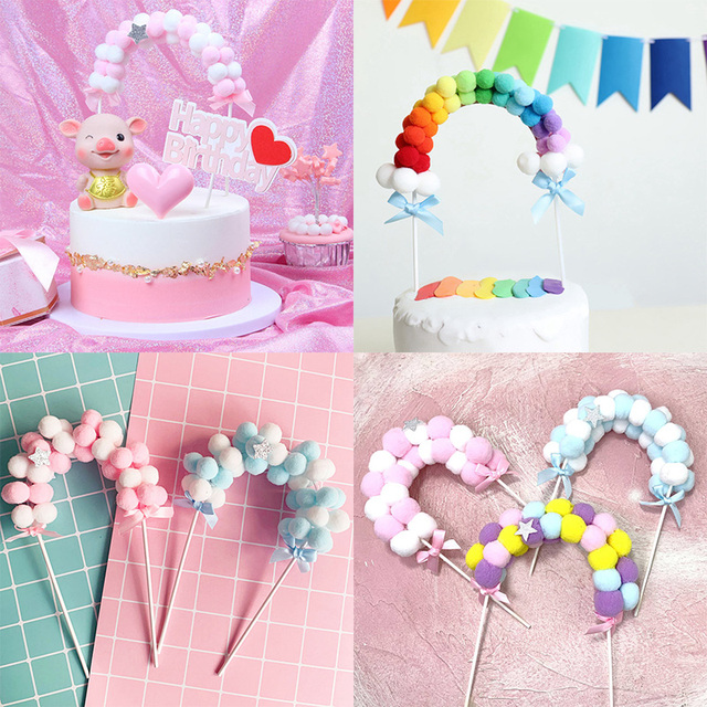 1PC Pink Blue Soft Pompom Cloud Cake Topper Happy Birthday Party DIY Cake Top Flags Decoration For Cake Topper Festival New Year