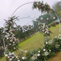 Metal ferro forjado casamento arco fundo decoração quadro shopping janela casa diy redonda festa decoração floral