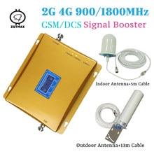 2g 4g repetidor de sinal gsm 2g 900mhz e lte 4g 1800mhz 70db ganho de banda dupla impulsionador 4g repetidor de sinal conjuntos celulares para casa