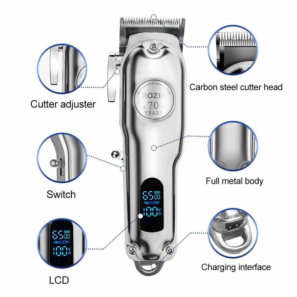 Professionelle Barber Shop Wiederaufladbare Haar Clipper Alle Metall Elektrische Haar Trimmer Männer LED Bart Trimmer Haarschnitt Maschine