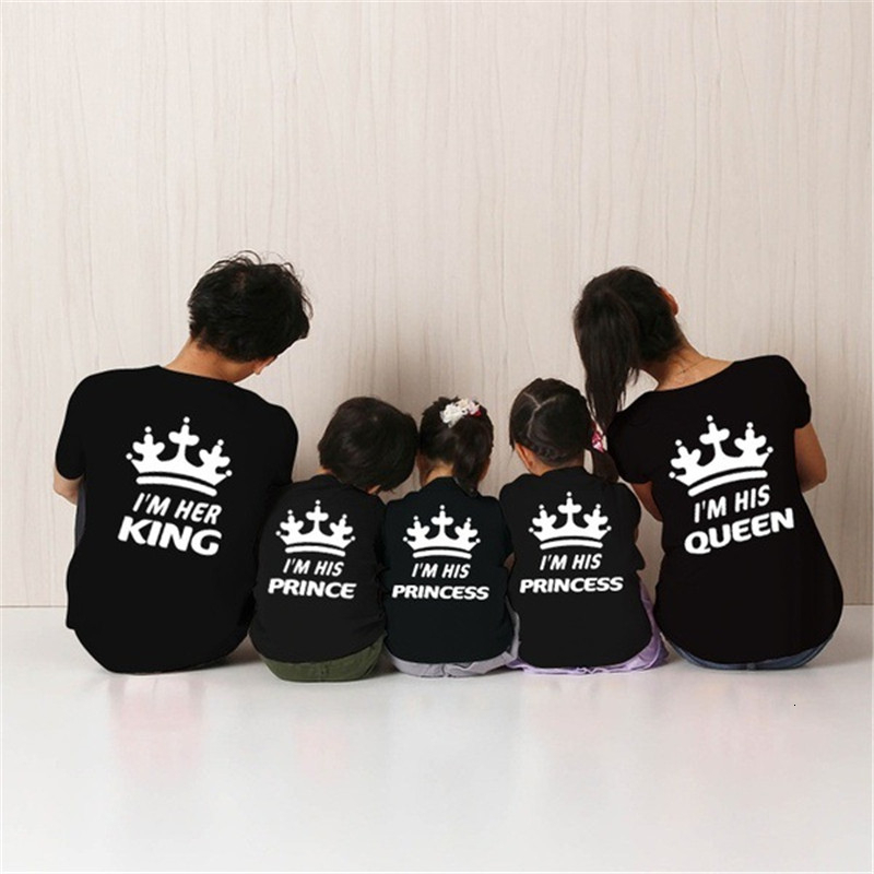 Family Shirts Outfits Mom Queen Printed Girl Baby Son And Dad Boy King Letter Matching