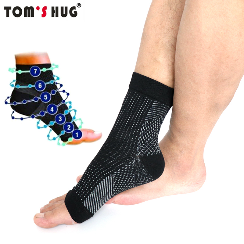 1 Pair Anti Fatigue Sports Pressure Socks Ankle Foot Sleeve Stretch Compression Breatheable Yoga Support Black Brace Socks