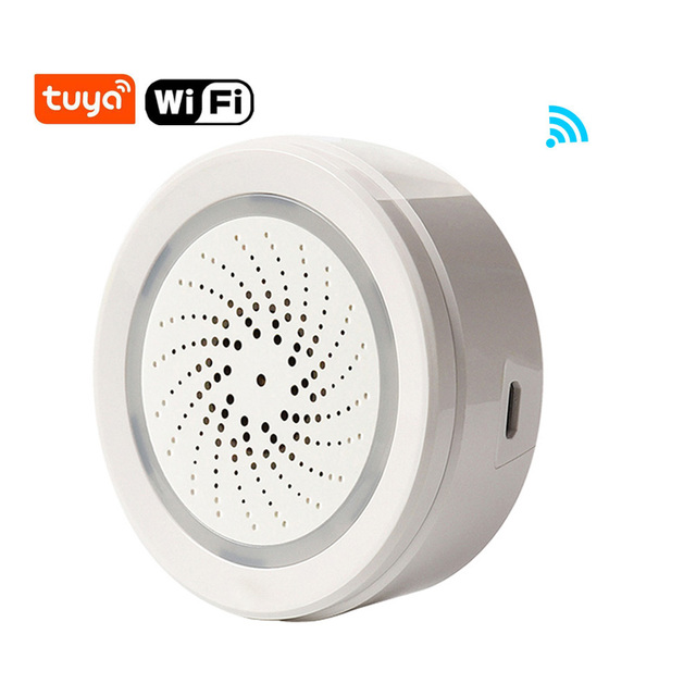 Tuya الحياة الذكية واي فاي USB صافرة إنذار كاشف حساس لاسلكي ضوء الصوت إنذار