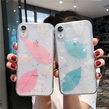 Fashion Epoxy Phone Case For iPhone XS XR Max X 6 6S 7 8 Plus Pink Green Leaves Transparent TPU Back Cover Cases New