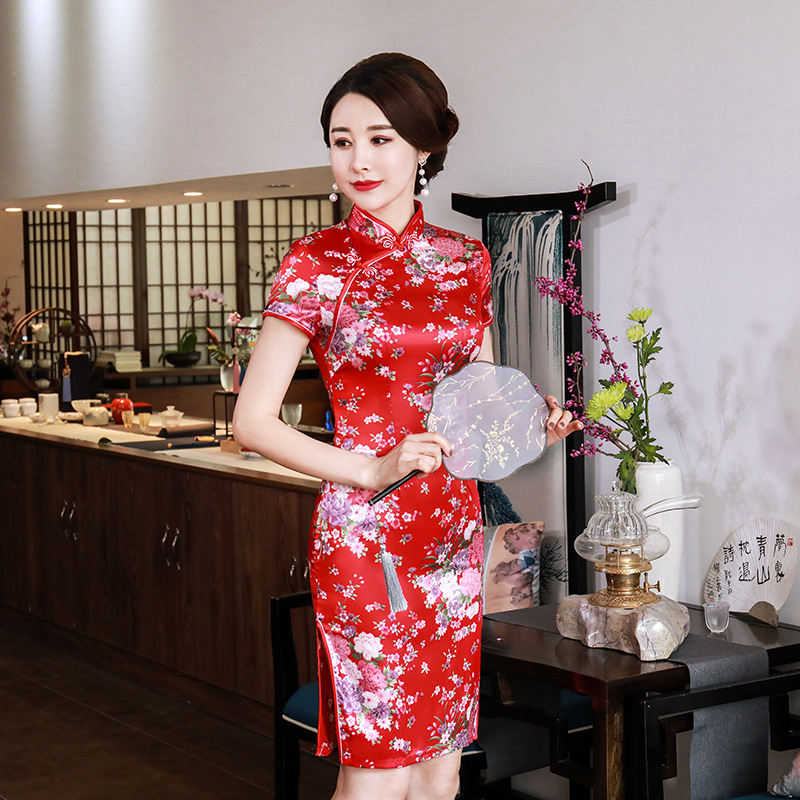 2019 New Summer Short Cheongsam Dress Chinese Style Slim Vintage Vestido Plus Size Qipao Dresses
