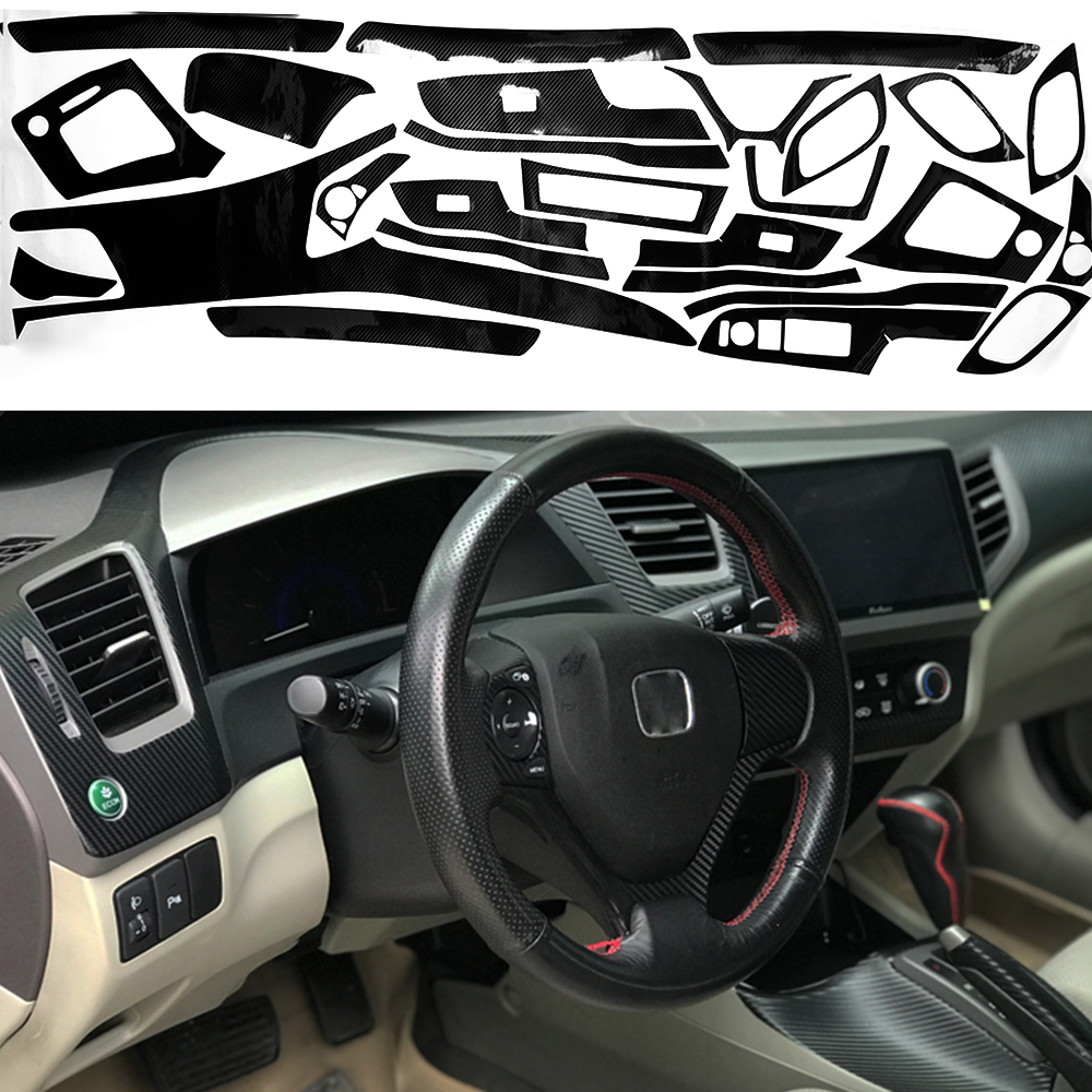 Carbon Fiber Pattern Car Interior DIY Decals Trim for 2012 2013 2014 Honda Civic