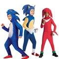 Новый роскошный костюм Соника ежика, детские игровые персонажи, Соник, быстрее, герой, косплей, Детский костюм на Хэллоуин