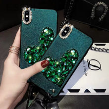 Glitter Phone Case For Apple X Iphone xs Mas Mobile Shell Rhinestone Love Green Fairy Double Lanyard Soft Shell Iphone8 plus(China)