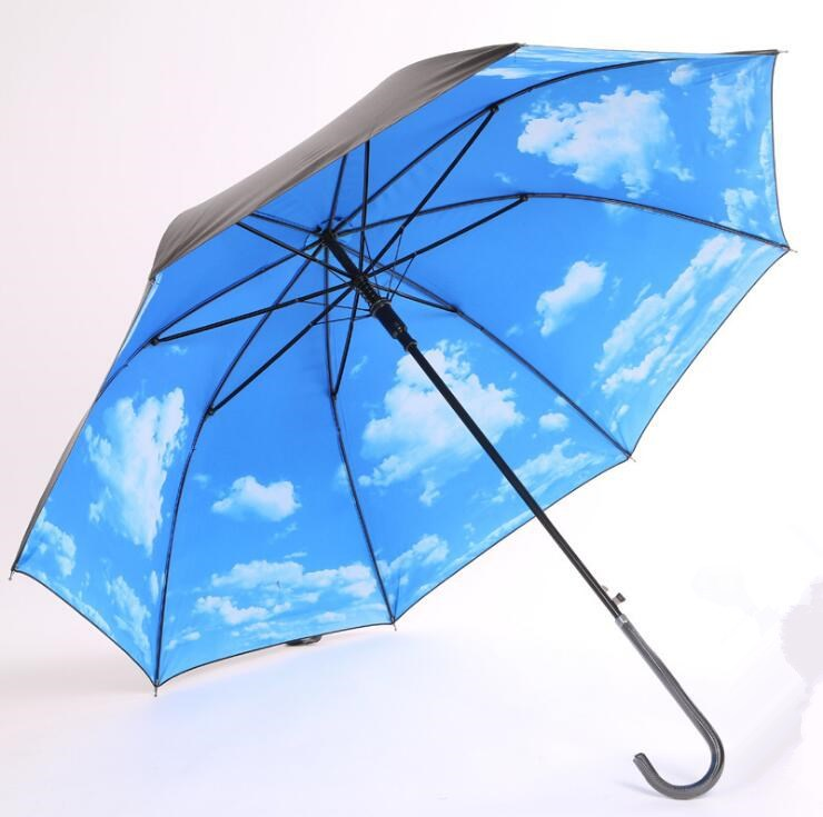 Creative All-Weather Umbrella Blue Sky And White Clouds Folding Straight Pole Curved Handle Vinyl Parasol Advertising Umbrella a