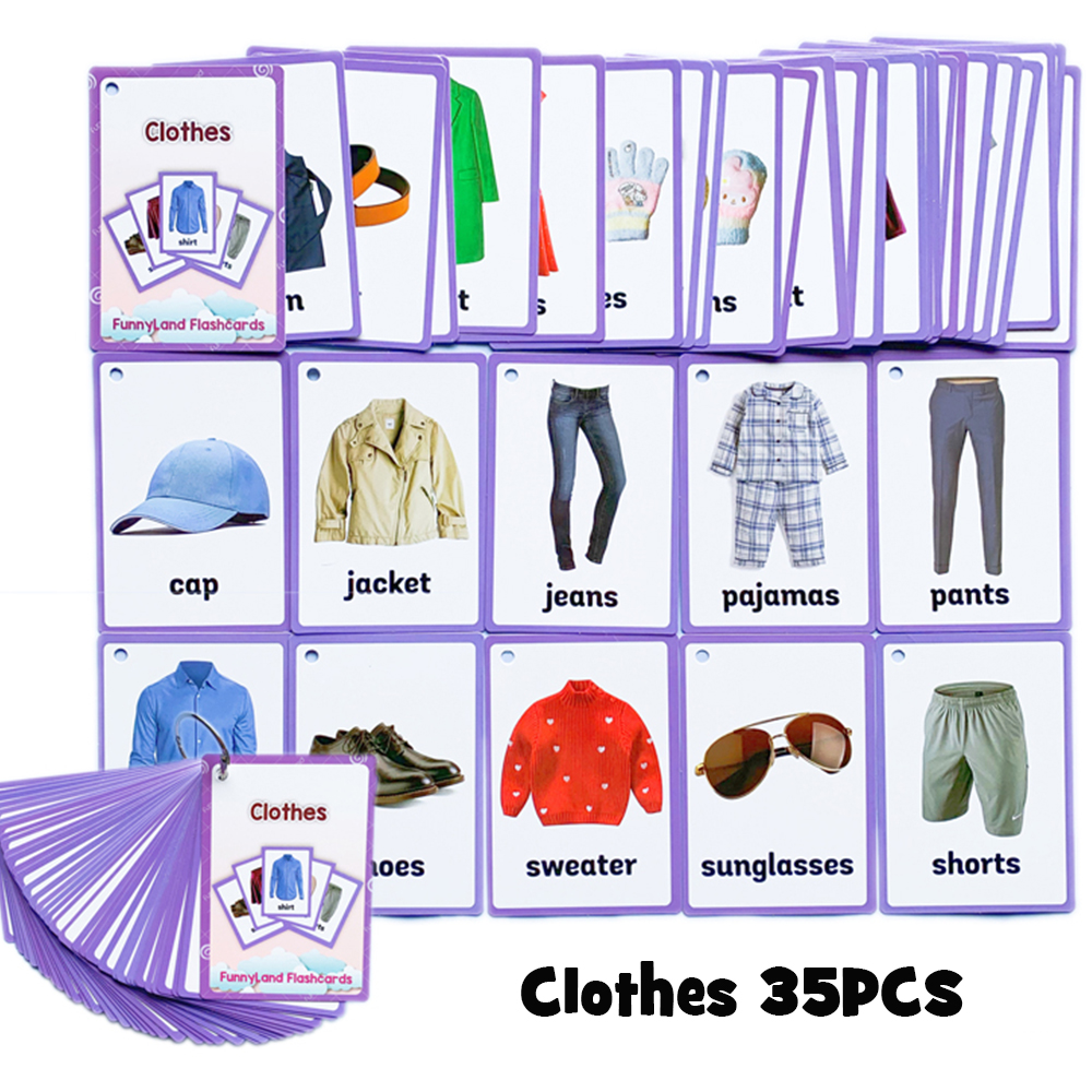 34Pcs/Set Clothes Kids English Learning Word Card Pocket Card Montessori Early Educational Toys For Children Flash Card Gifts