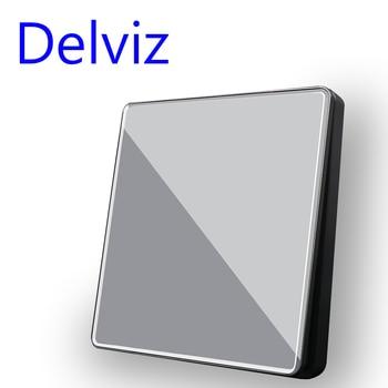 цена на Delviz Crystal glass Switch, 1/2/3/4 Gang 2 Way, Grey panel Cable TV socket, RJ45 Computer Outlet, EU Standard Wall Light Switch