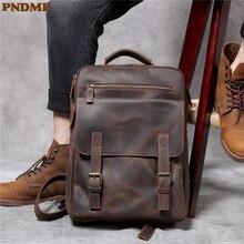 PNDME vintage crazy horse leather mens backpack simple handmade daily multi pocket genuine laptop travel bagpack luxury